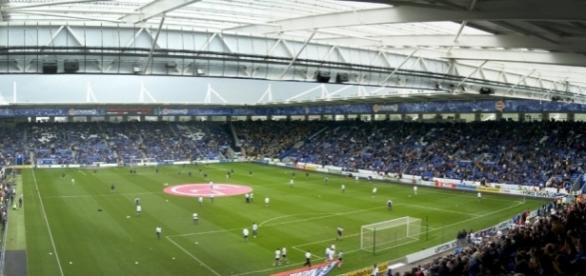 Leicester's King Power Stadium. Picture by Pommes104 at the English language Wikipedia, CC BY-SA 3.0.
