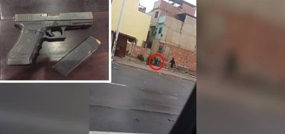 Morador corre pela rua durante tiroteio