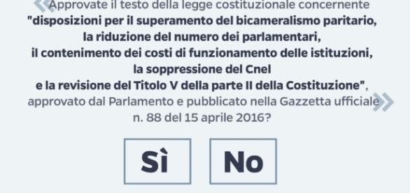 Il quesito del referendum costituzionale su cui hanno fatto ricorso SI e M5S