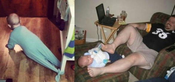 Quando a mãe tem que sair e os pais ficam sozinhos com o bebê