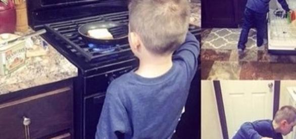Nikkole ensina seu filho a fazer tarefas domésticas