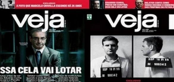 Capas da Veja desta semana, uma para o estado do Rio de Janeiro e outra para o restante do país - Reprodução/Revista Veja
