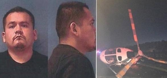 Ao lado, a imagem do homem identificado como Glenn Livingston, e ao lado a foto do helicóptero atingido pelo veículo.