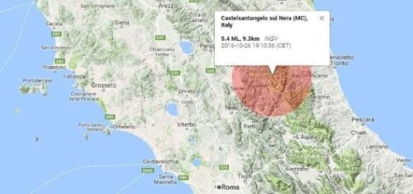 Epizentrum des heutigen Erdbebens