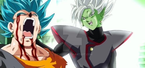 Fan art de Dicasty sobre la fusión de Zamasu vs Vegetto
