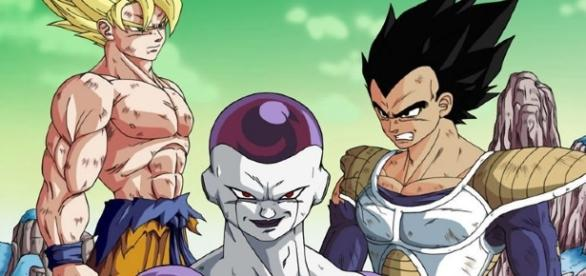 Goku,Vegeta y freezer en el planeta namek