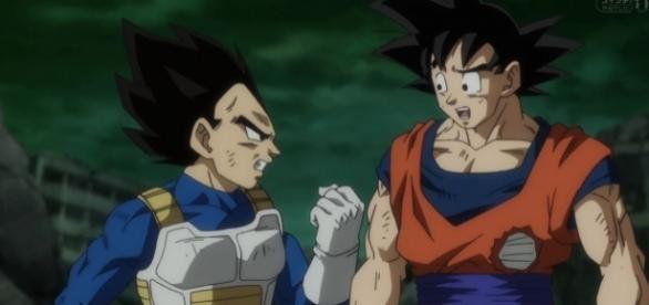 Vegeta enojado con Goku por no traer consigo el jarrón del Mafuba
