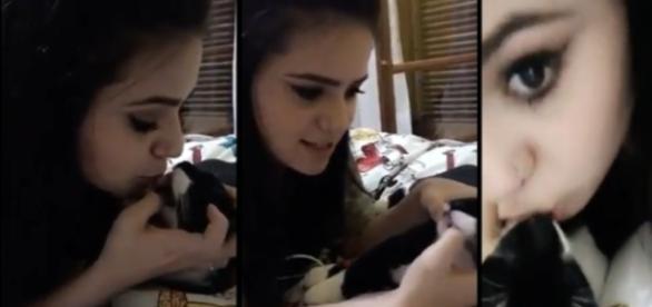 A youtuber mostrou em seu Snapchat o momento em que ela cuspiu na boca do gato