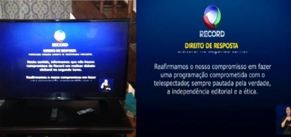 Direito de resposta da Record na Globo