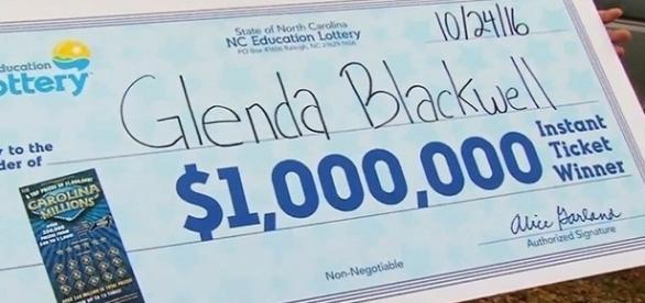 Na imagem a representação do bilhete ganhador, intitulado a Glend Blackwell
