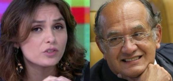 Monica Iozzi e o ministro do TSE, Gilmar Mendes (Foto: Reprodução)