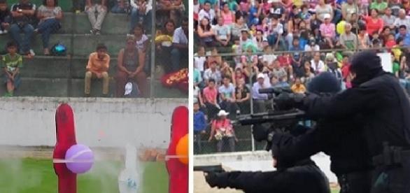 Balas de verdade atingiram espectadores durante demonstração