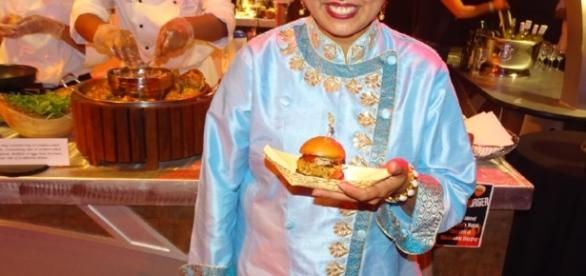 Chef Maneet Chauhan made a special creation for the Rockin' Burger Block Party. (Photo by Barb Nefer)