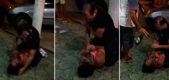 As imagens gravadas por uma pessoa que estava presente no bar mostram o momento que o homem agride e amarra a mulher