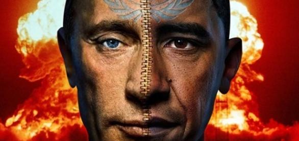 Obama y Putin con hongo nuclear