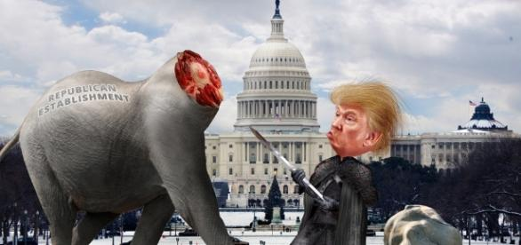 From Flickr, Donkey Hotey Lord Commander Trump Decapitates the Establishment Republicans, images adapted from Creative Commons