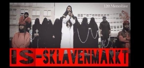 Nachgestellter IS-Sklavenmarkt in Essen (Screenshot)
