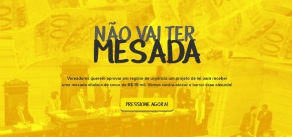 O Não Vai Ter Mesada busca barrar o projeto proposto pelos vereadores do Rio de Janeiro.