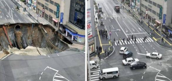Cratera gigantes aparece em avenida movimentada do Japão e é consertada em 48h.