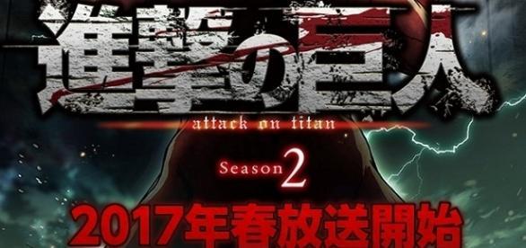 """Textual: """"Shingeki no Kyoujin 2, transmisiones en la temporada de primavera de 2017""""."""