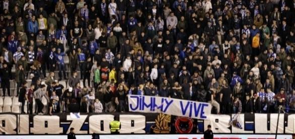 Pancarta del grupo 'Riazor Blues'