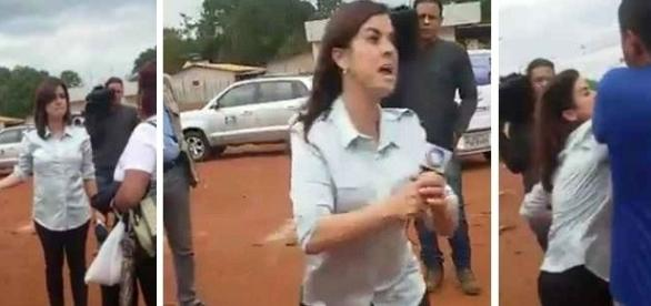 A repórter Francy Rodrigues durante uma filmagem