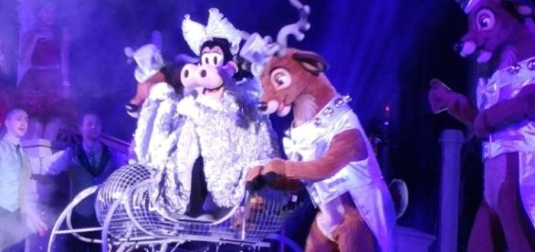 Clarabelle Cow on stage for the new Magic Kingdom Christmas show. (Photo by Barb Nefer)