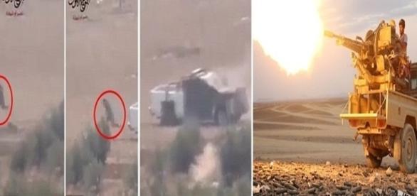 Homem-bomba desistindo de ataque suicida e abandonando carro sob ataque pesado