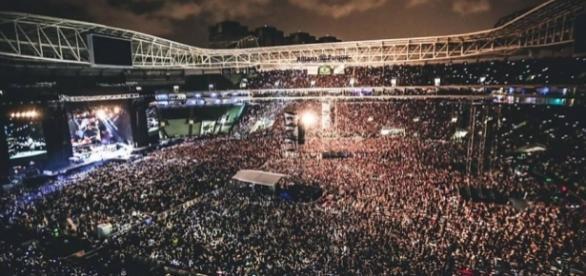 Vista do Allianz Parque em show da banda americana Guns N' Roses, no sábado dia 12/11 em São Paulo. Divulgação/Katarina Benzova