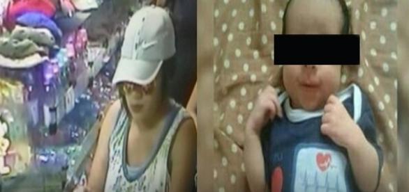 Imagens câmera de segurança da suposta Mulher raptou bebê de 25 dias