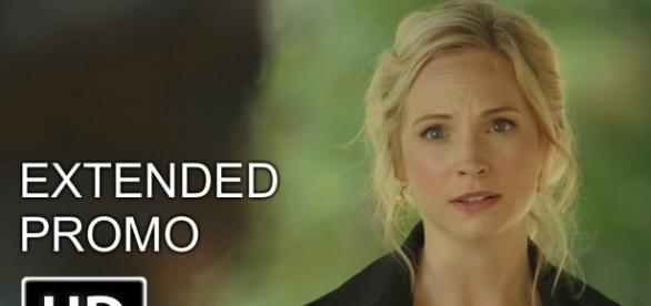 The Vampire Diaries 8x05: Caroline no funeral de Tyler (Foto: CW/Youtube)