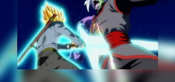 Trunks derrota a Zamasu con un ataque realizado por todos.