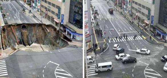 Antes e depois da cratera consertada em Fukuoka no Japão