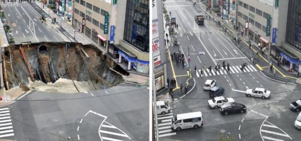 Cele două poze alăturate arată cum japonezii au reparat în doar 48 de ore gaura din asfalt - Foto: Associated Press