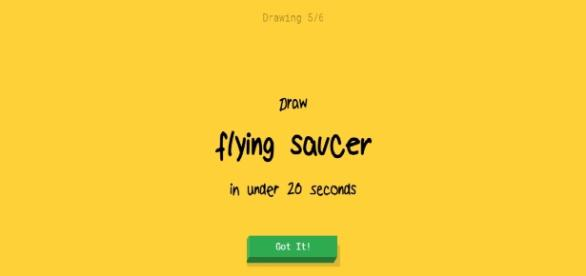 Quick, Draw! challenges the user to draw a recognisable UFO in 20 seconds.