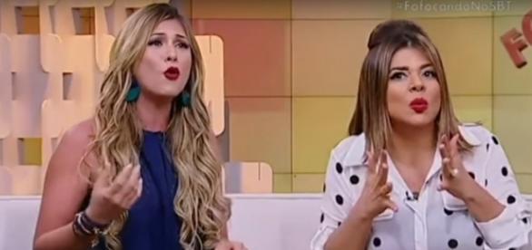 Mara e Lívia discutem ao vivo durante o programa 'Fofocando'