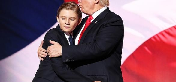 Lookalike Barron Trump Yawns His Way Through Father Donald Trump's ... - people.com