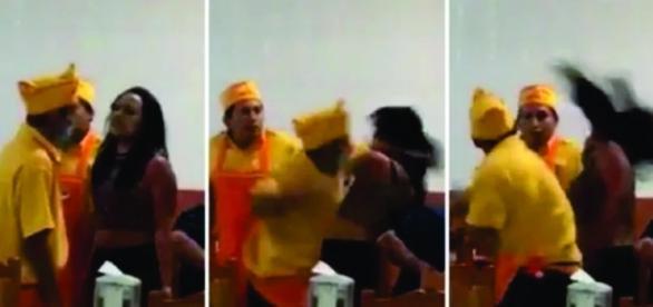 Imagens do vídeo do homem agredindo mulher