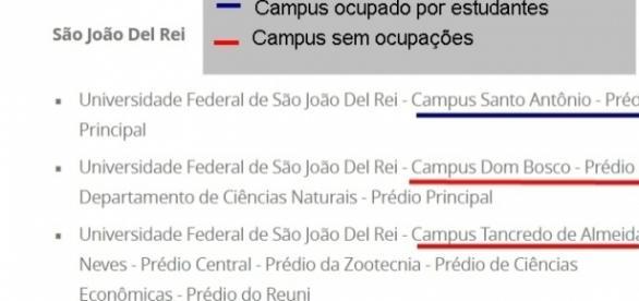 UFSJ tem apenas um campus em sua sede ocupado por estudantes.