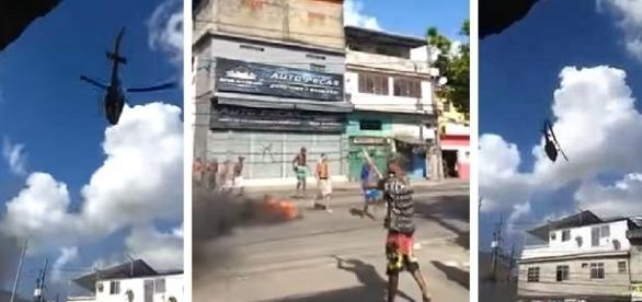 Vídeos mostram o momento em que o helicóptero com quatro policiais é abatido