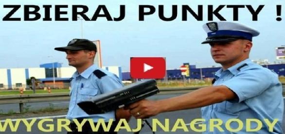 Zbieraj punkty i wygrywaj nagrody, motto konkursu organizowanego przez polską policję