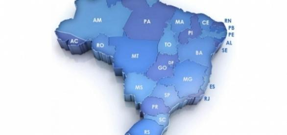 Mapa do Brasil apresentando os estados brasileiros.