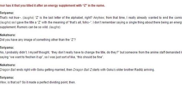 Fragmento de la entrevista en que Toriyama-Sensei explica el por que de la letra Z.