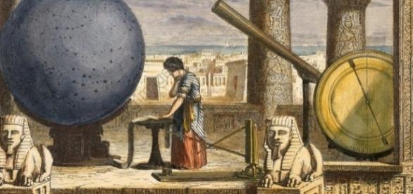 Astronomía antigua representada en un grabado iluminado de mediados del siglo XIX