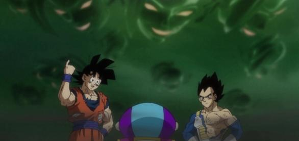 Imagen de Zeno junto a Goku y Vegeta