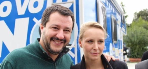 Matteo Salvini leader della Lega Nord e Marion Le Pen