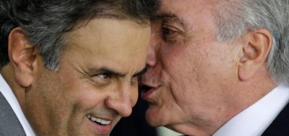 Aécio não fez críticas ao presidente Temer