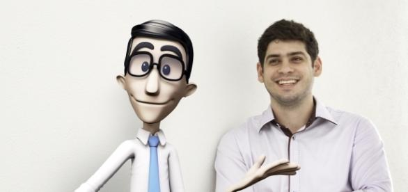 Ronaldo Tenório, listado como um dos jovens mais inovadores do mundo, e Hugo (esq.), personagem do aplicativo.