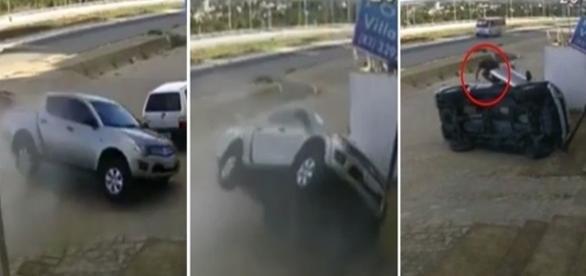 Nas imagens é possível ver o momento do acidente.