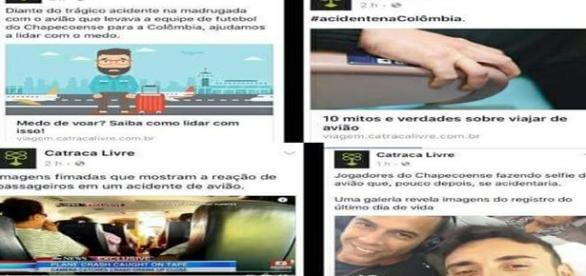 Notícias sensacionalistas do site Catraca Livre